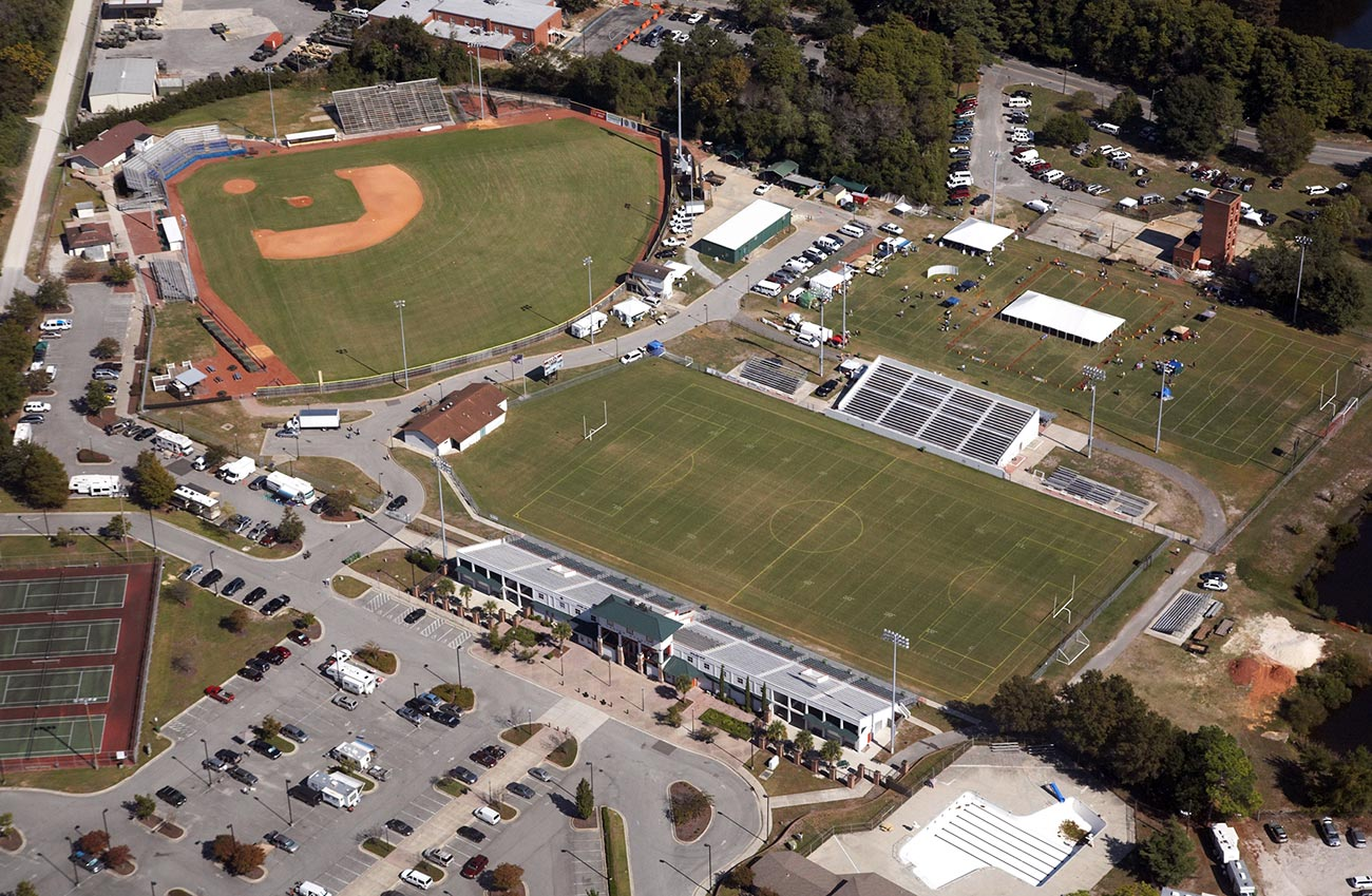 An overhead view of the Legion Sports Complex