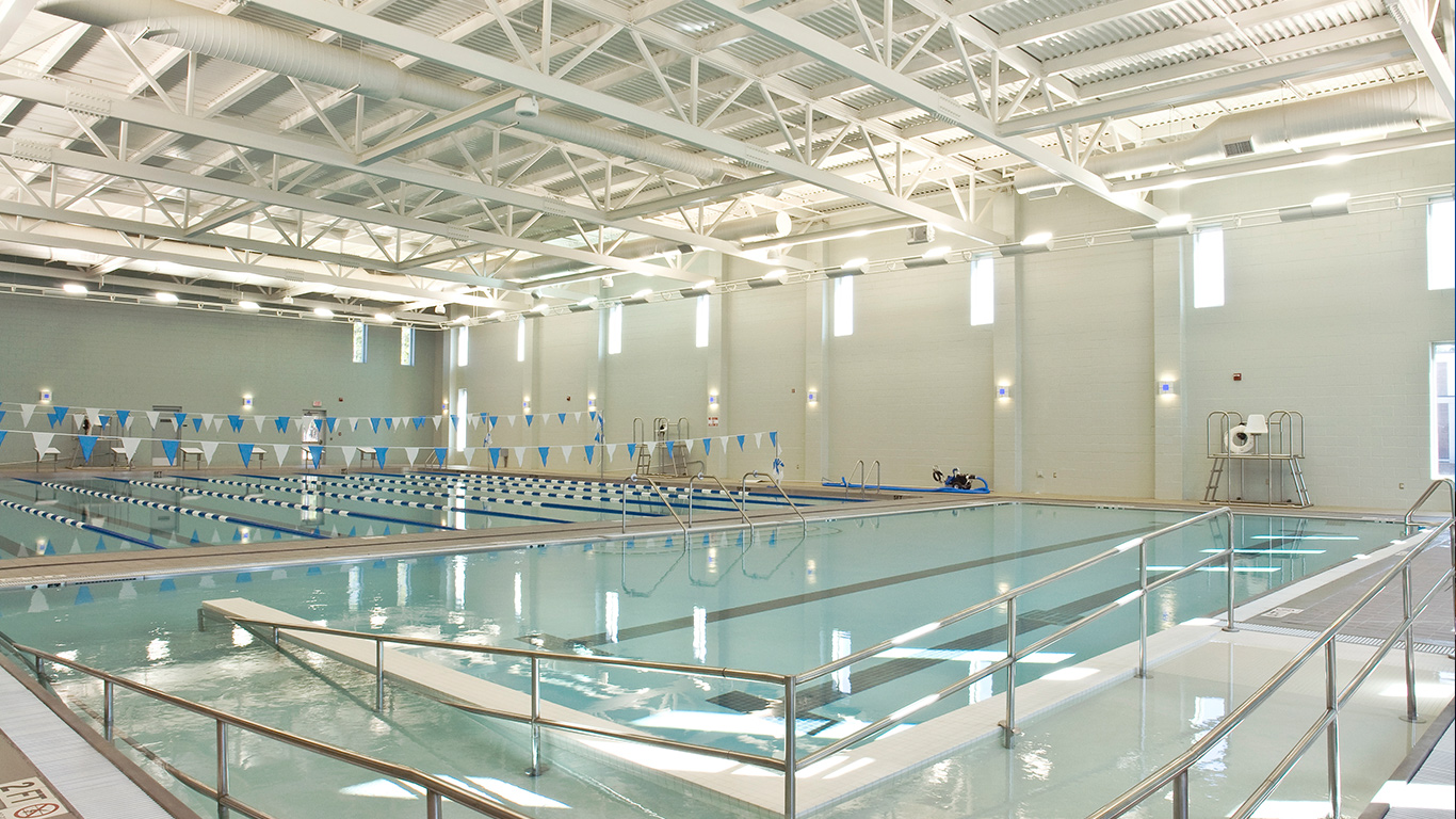 The olympic-sized interior pool at the Dinah E. Gore Fitness & Aquatics Center