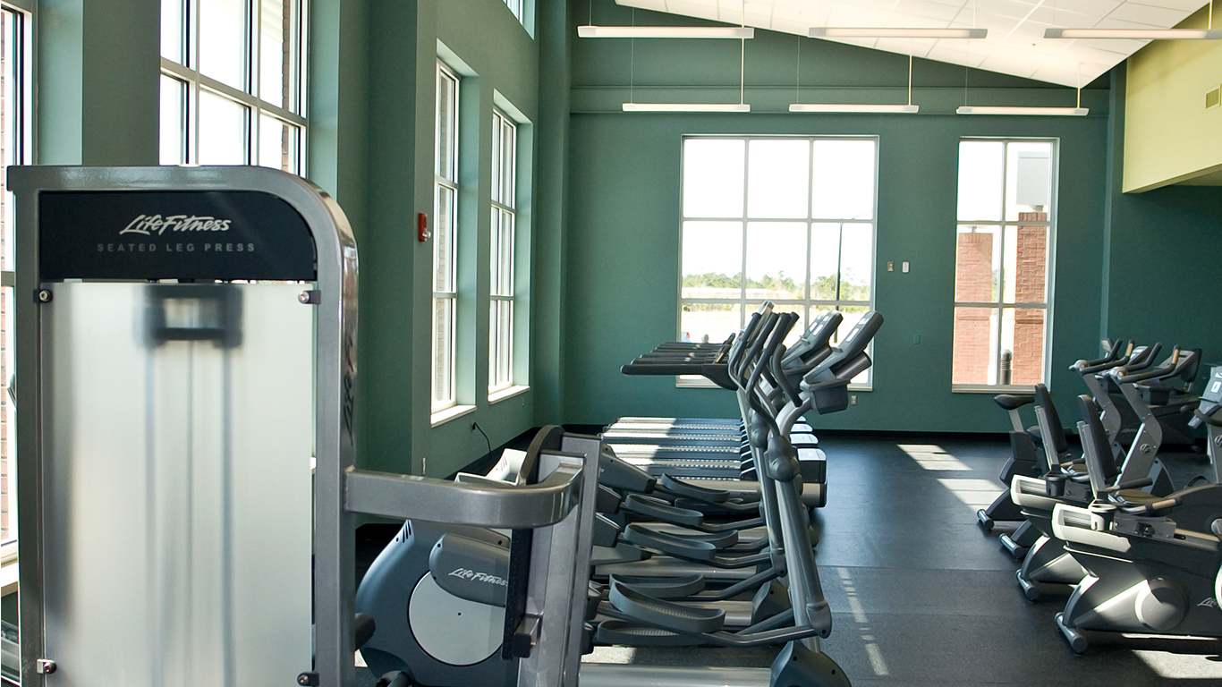 The workout room at the Dinah E. Gore Fitness & Aquatics Center
