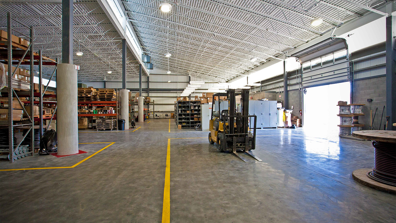 The BEMC Warehouse bay interior with forklift