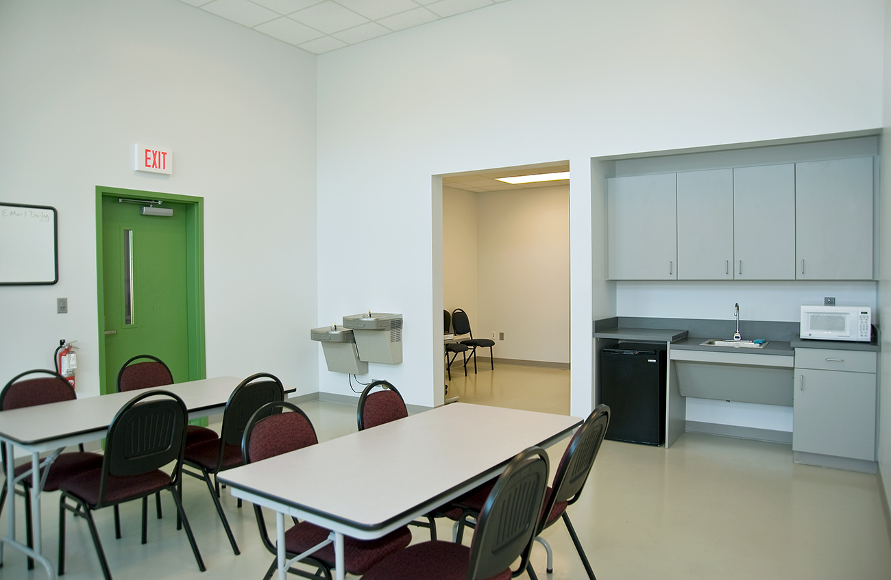 The employee lounge of the Wilmington street sweeper facility