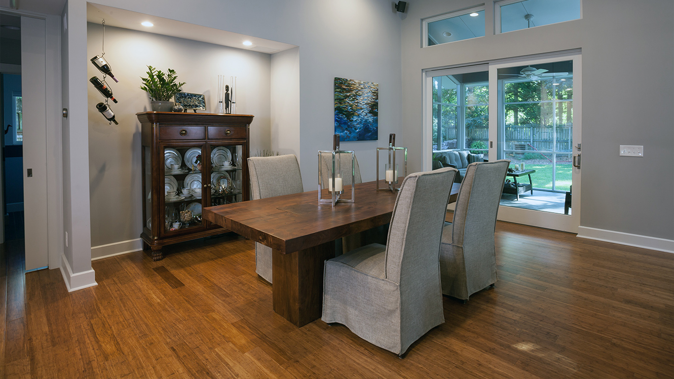 The spacious dining room of the Faison Residence