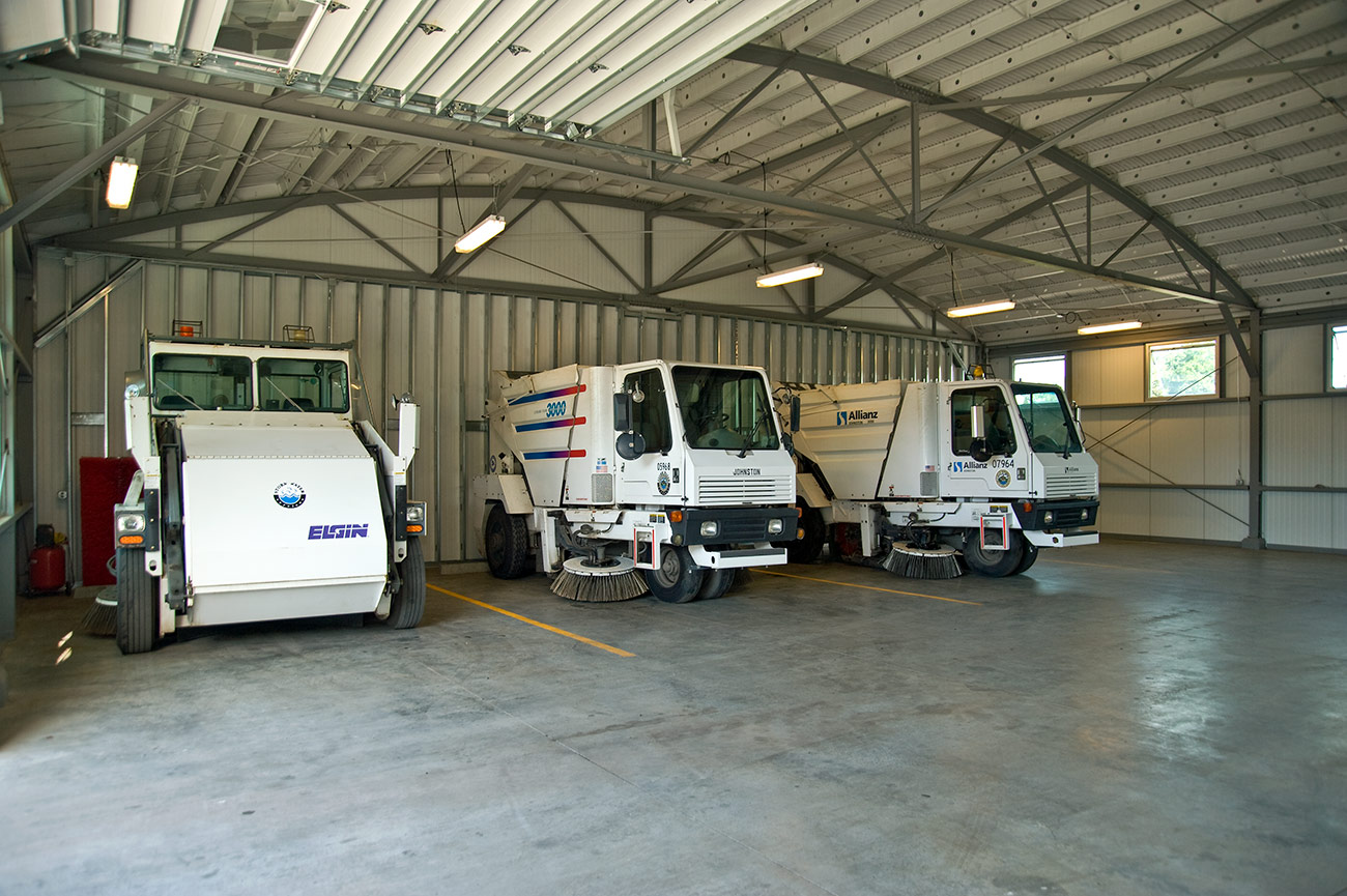 The street sweeper garage in the Wilmington street sweeper facility
