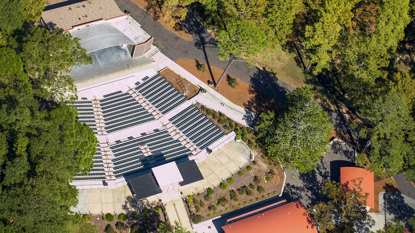 Arial view of the Greenfield Lake Park Amphitheater and seating