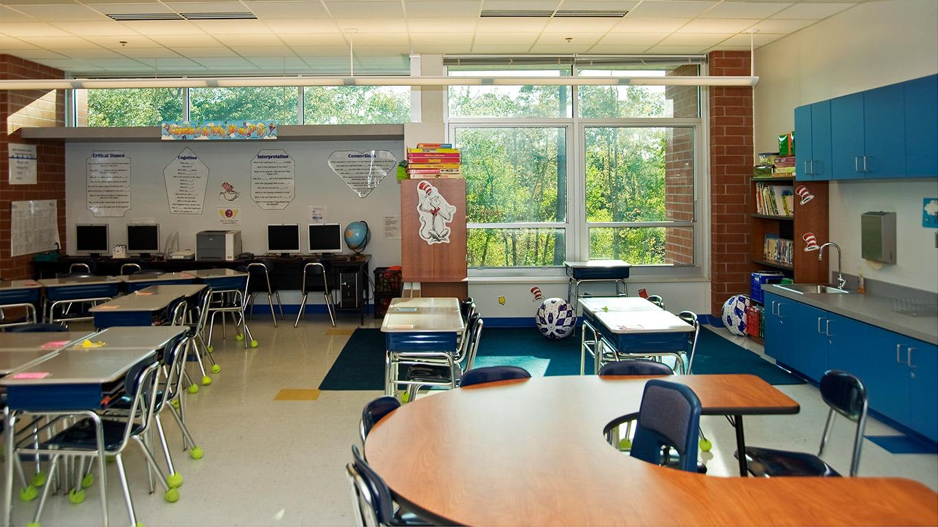 An empty classroom of the Ogden Elementary school