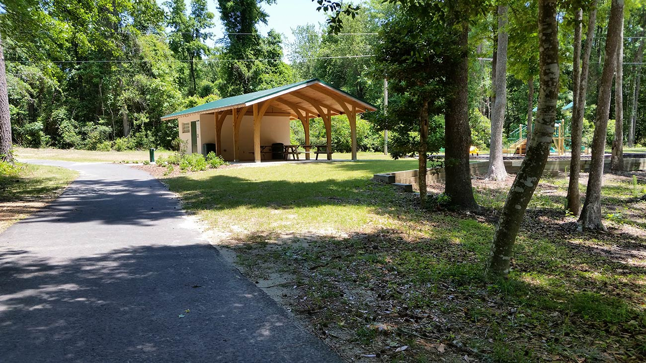 A pavillion and playground at Millers Pond Park