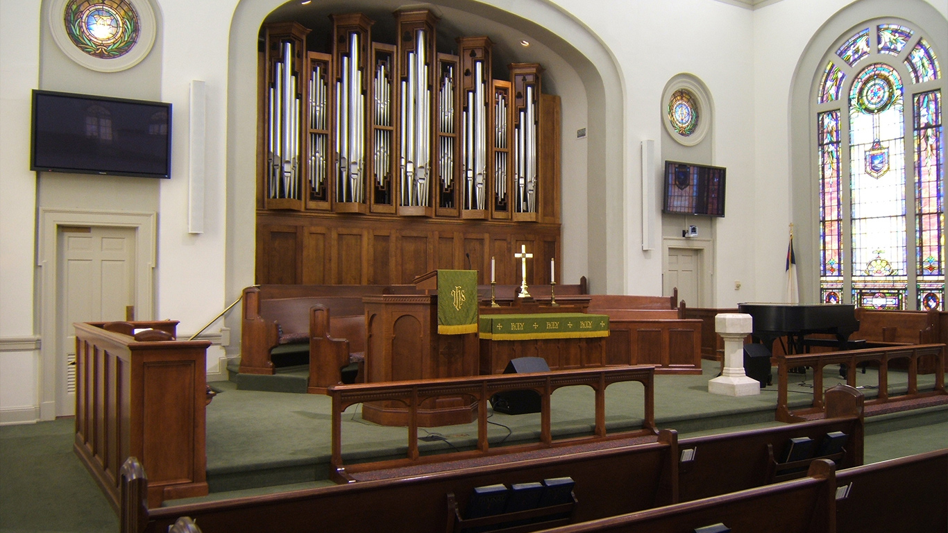 The apse of the Trinity Methodist United Church with ample chorus space and grand organ pipes