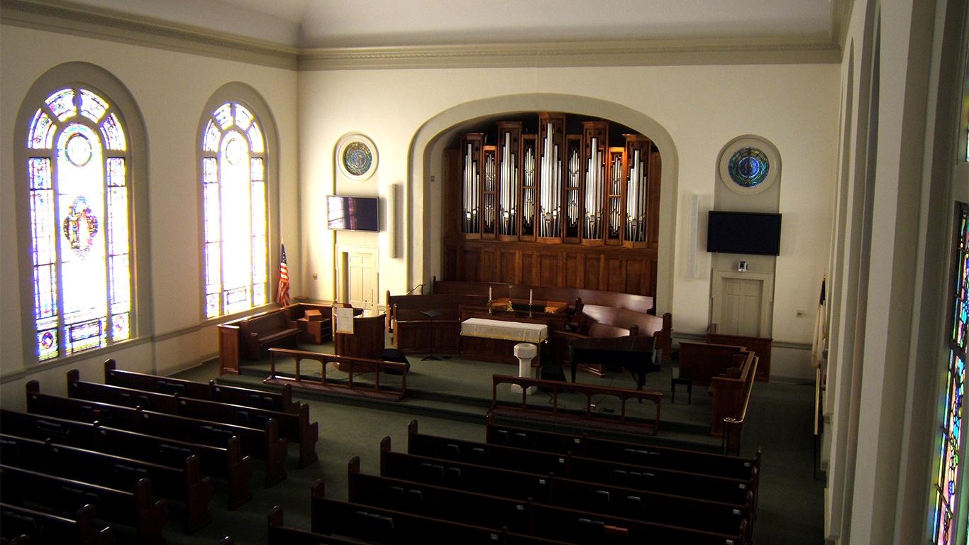 The interior of the Trinity United Methodist Church