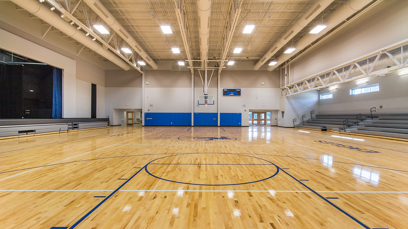 The basketball court and assembly area of the Waccamaw School