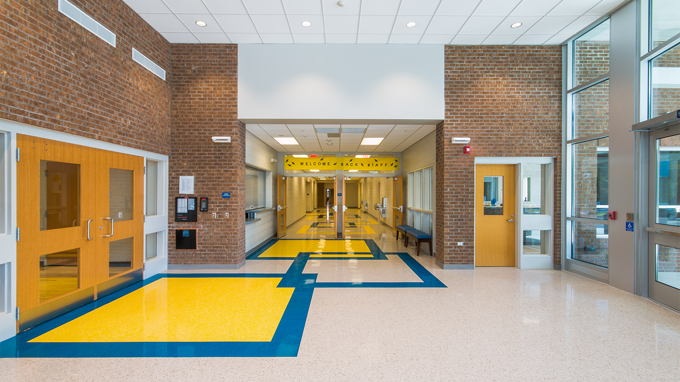 The bright and open entrance and interior hallway at the Waccamaw School