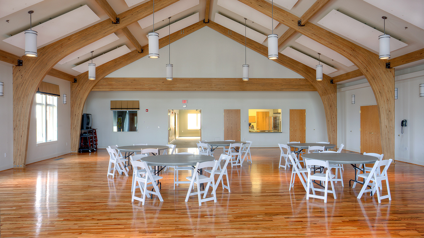 A large and attractive gathering space at the Wrightsville United Methodist Church set up for dining