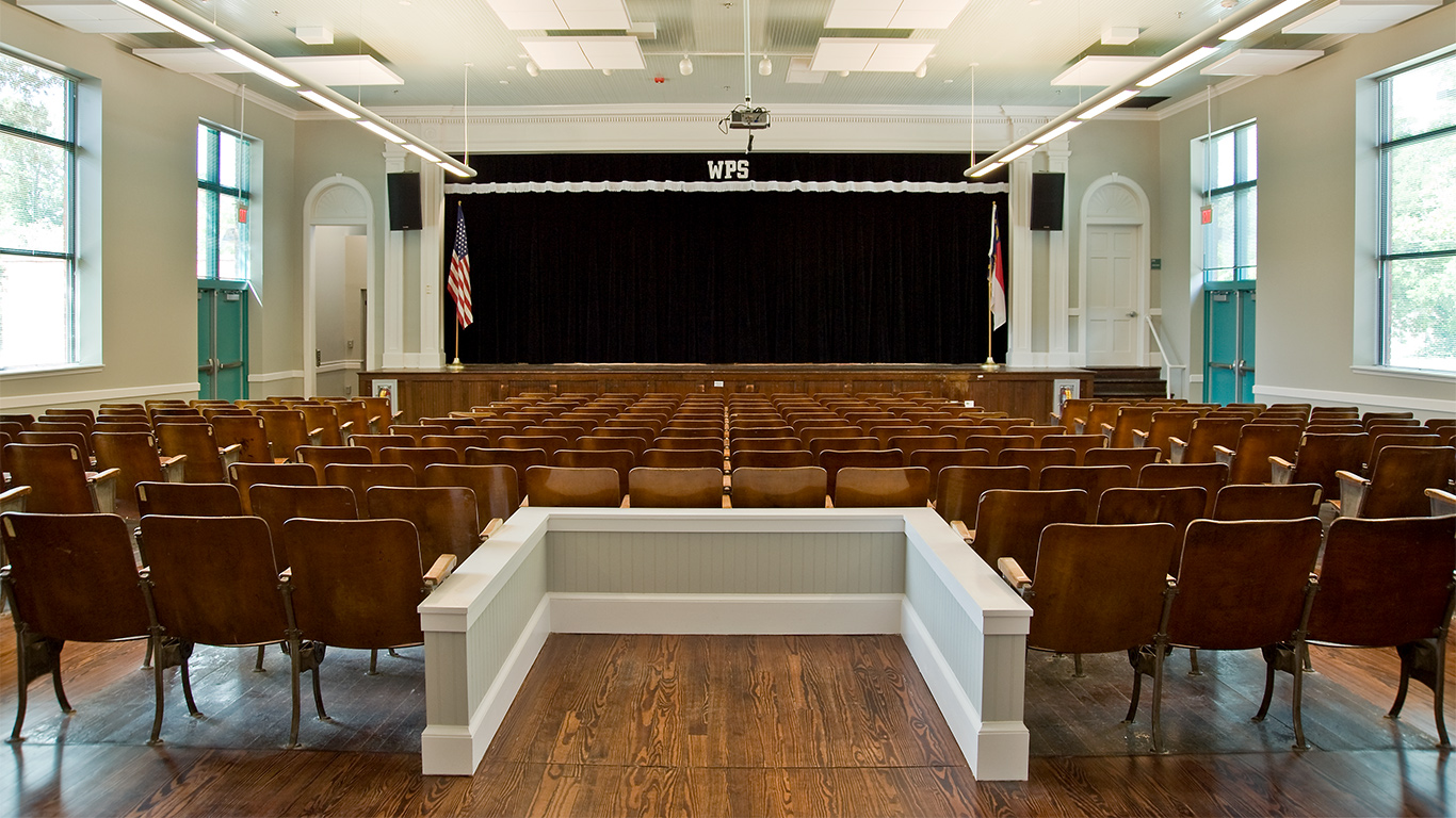 The auditorium of Winter Park Elementary with proscenium stage